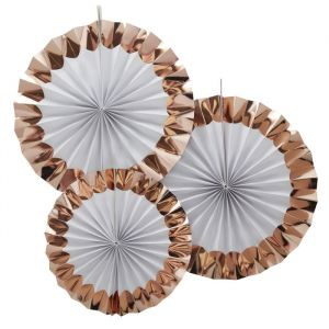 Paperfans wit-roségoud (3st) Ginger Ray
