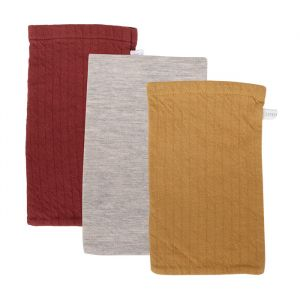 Washandjes Pure Indian Red & Pure Ochre (3st) Little Dutch