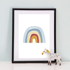 Poster A3 Rainbow Alphabet blauw Little Dutch