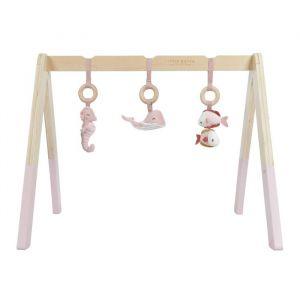 Houten babygym met speeltjes Ocean pink Little Dutch