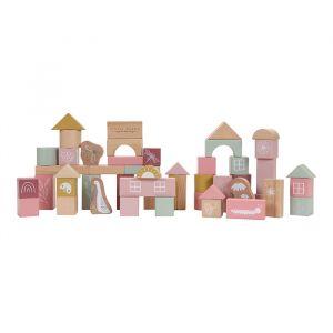 Houten bouwblokken roze Little Dutch