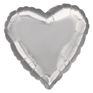 Folieballon hart zilver (43cm)