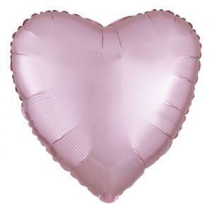 Folieballon Satin Luxe hart pastel roze (43cm)