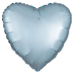 Folieballon Satin Luxe hart pastel blauw (43cm)