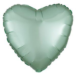 Folieballon Satin Luxe hart mint (43cm)