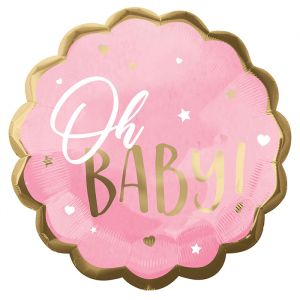 Folieballon Oh Baby roze (55cm)