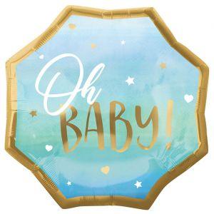 Folieballon Oh Baby blauw (55cm)
