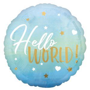 Folieballon Hello world blauw (40cm)