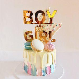 Gender reveal taarttopper boy or girl spiegelacryl goud