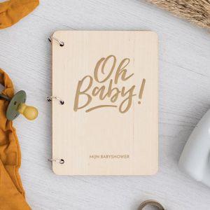 Babyshower boekje Oh Baby met houten kaft