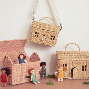 Draagbaar poppenhuisje Casa Bag straw Olli Ella