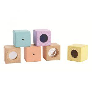 Houten sensory blokken pastel Plan Toys