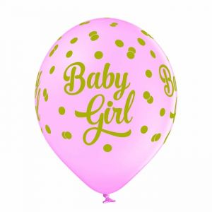 Ballonnen Baby Girl dots (6st)