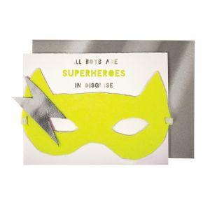 Verjaardagskaart met maskertje Super Hero Meri Meri