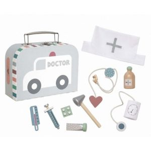 Dokterskoffertje met accessoires grijs JaBaDaBaDo