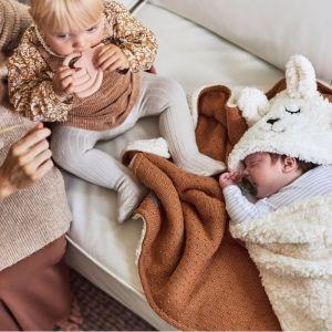 Ledikantdeken Teddy Bliss knit caramel Jollein