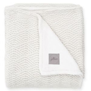 Ledikantdeken River knit fleece cream white Jollein