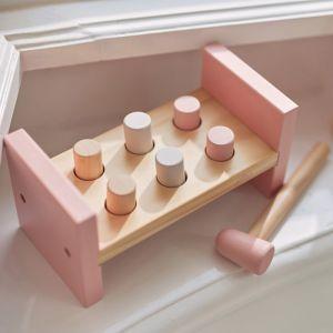 Houten hamerbank roze Jollein