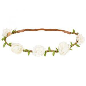Haarband Elke witte bloemen en blaadjes Souza