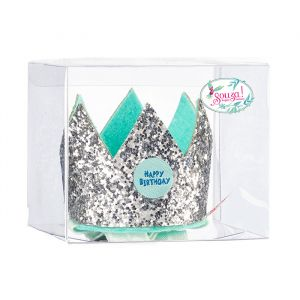Verjaardagskroontje happy birthday blauw-zilver Souza