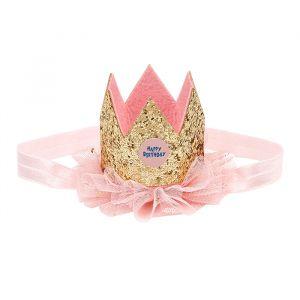 Verjaardagskroontje happy birthday roze-goud Souza