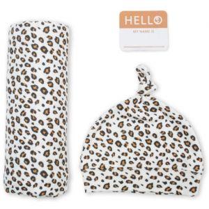 Hydrofiele doek en muts Leopard Hello World Lulujo