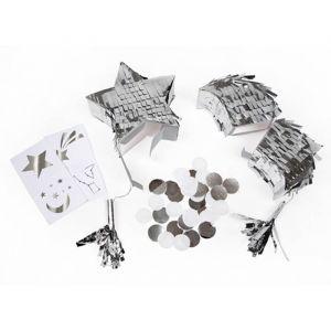 Mini pinata's maan en ster zilver (2st) Meri Meri