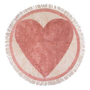 Vloerkleed rond Heart roze (120cm) Tapis Petit