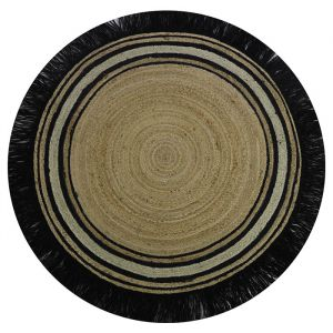 Vloerkleed jute rond Tess black (110cm) Tapis Petit