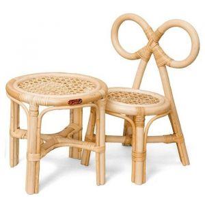 Rotan poppenstoeltje en tafel Poppie Toys
