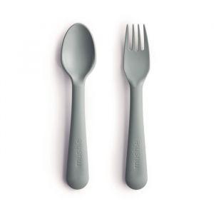 Bestek vork en lepel sage Mushie