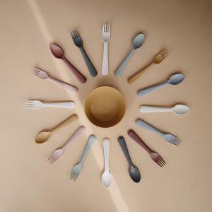 Bestek vork en lepel woodchuck Mushie