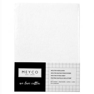 Molton hoeslaken stretch ledikant wit Meyco