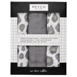 Hydrofiele doeken XL panter neutraal mix (3st) Meyco
