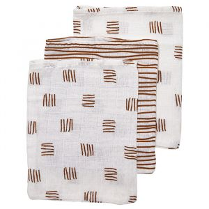 Washandjes Block-Stripe camel mix (3st) Meyco