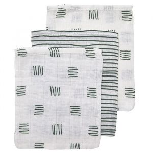 Washandjes Block-Stripe forest green mix (3st) Meyco