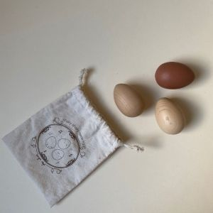 Houten rammel eitjes neutral (3st) Konges Slojd