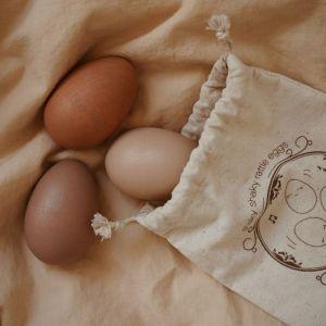 Houten rammel eitjes rose (3st) Konges Slojd