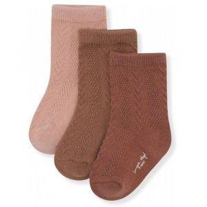 Sokken Pointelle mocca/rose mix Konges Slojd