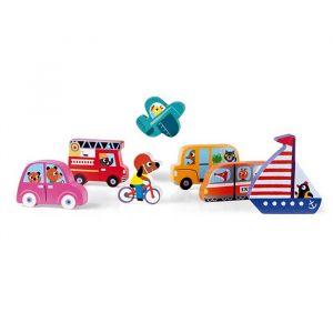 Houten chunky puzzel voertuigen Janod