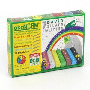 Ecologisch stoepkrijt David zilveren glitters (7st) Ökonorm