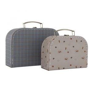 Koffertjes Tiger & Grid blue/clay (2st) Oyoy