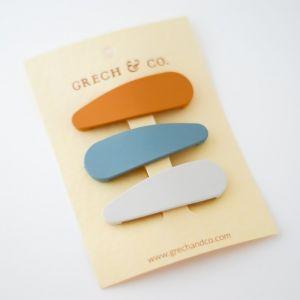 Haarclipjes Golden, light blue en Buff (3st) Grech & Co