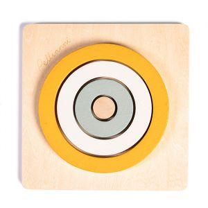 Houten puzzel cirkels mosterdgeel Pellianni