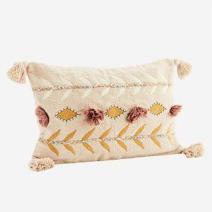 Kussenhoes embroidered powder/mustard Madam Stoltz