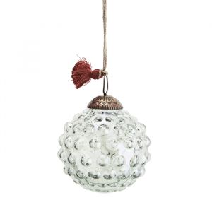 Glazen kerstbal Dots green luster (7cm) Madam Stoltz