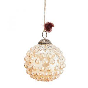 Glazen kerstbal Dots orange luster (10cm) Madam Stoltz