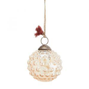 Glazen kerstbal Dots orange luster (7cm) Madam Stoltz