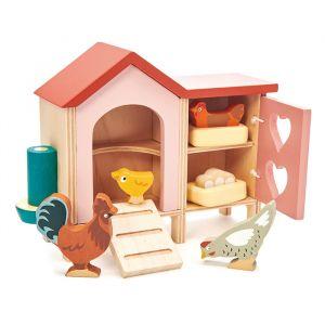 Houten poppenhuis kippenhok Tender Leaf Toys