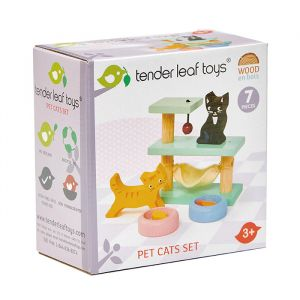 Houten poppenhuis huisdier kat Tender Leaf Toys